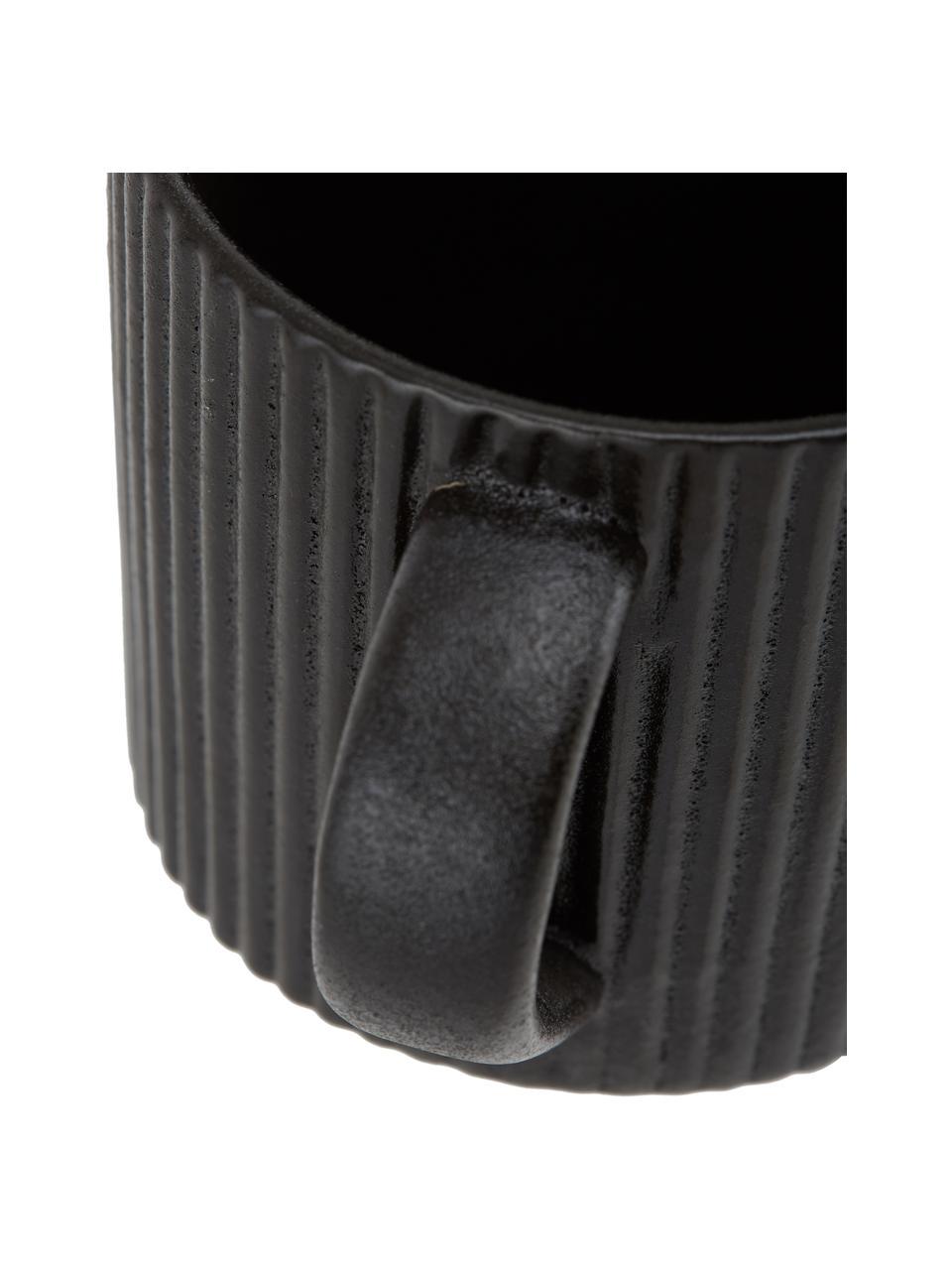 Mokken Neri met groefstructuur in zwart mat, 2 stuks, Keramiek Met groefstructuur en licht ruwe oppervlak, Zwart, Ø 9 x H 9 cm