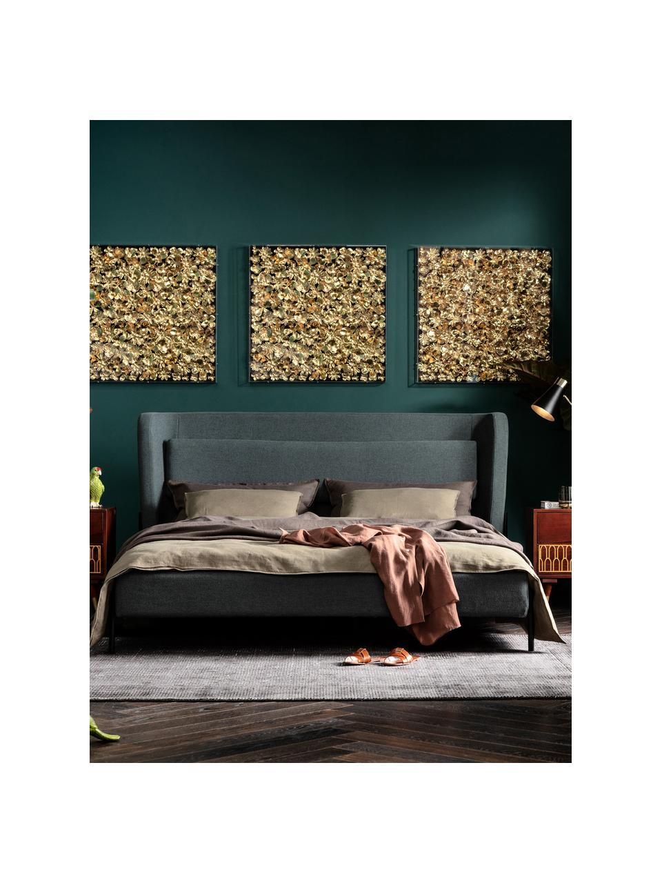 Łóżko tapicerowane Tivoli, Korpus: lite drewno eukaliptusowe, Tapicerka: 100% poliester, Nogi: stal malowana proszkowo, Zielony, S 160 x D 200 cm