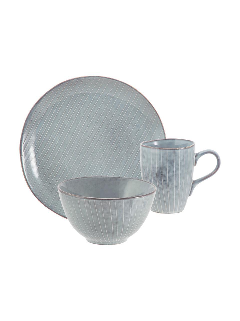 Handgemachtes Frühstücks-Set Nordic Sea aus Steingut, 4 Personen (12-tlg.), Steingut, Grau, Blau, Sondergrößen