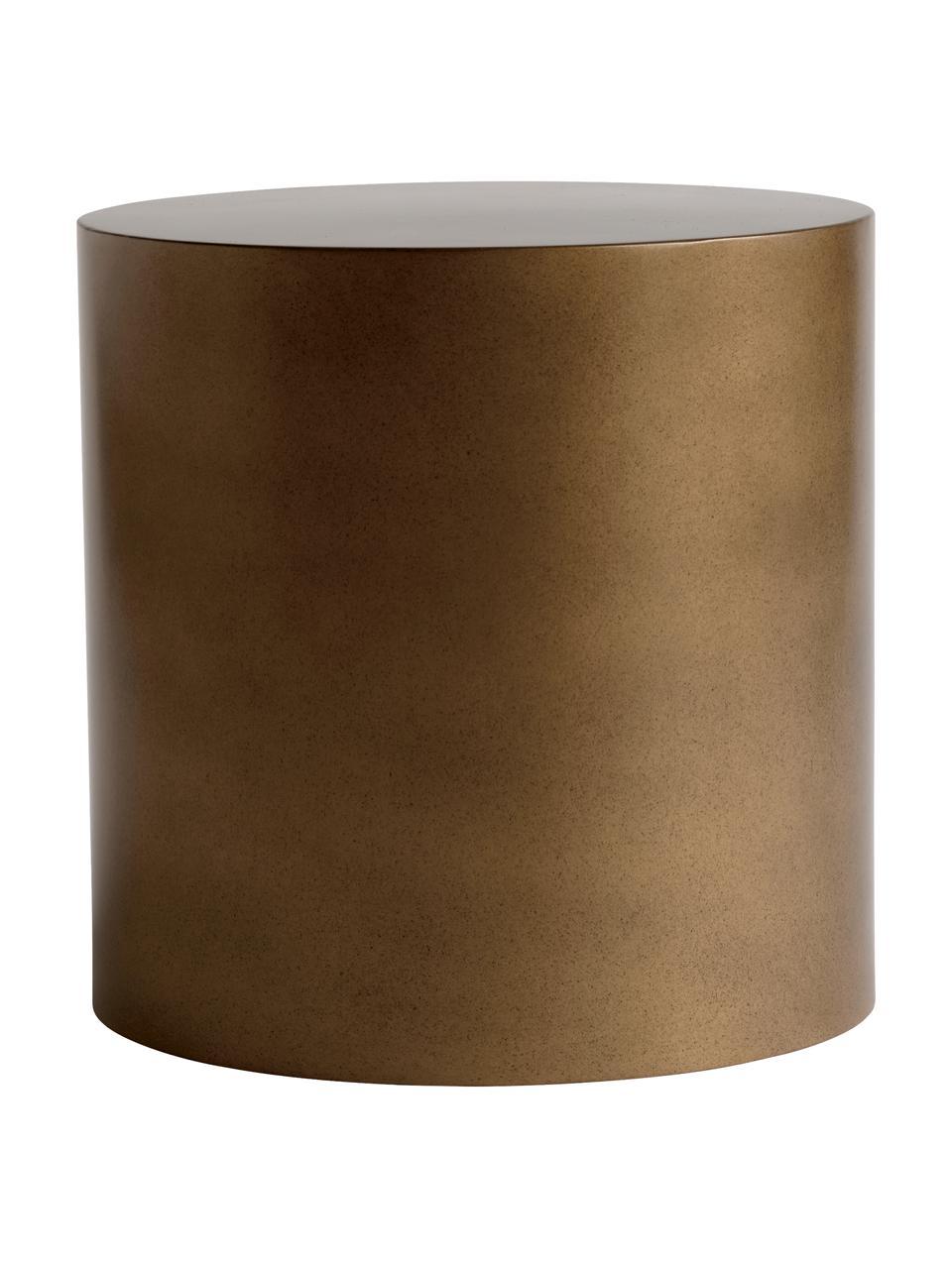 Runder Metall-Beistelltisch Metdrum in Honigfarben, Metall, Honigfarben, Ø 40 x H 40 cm