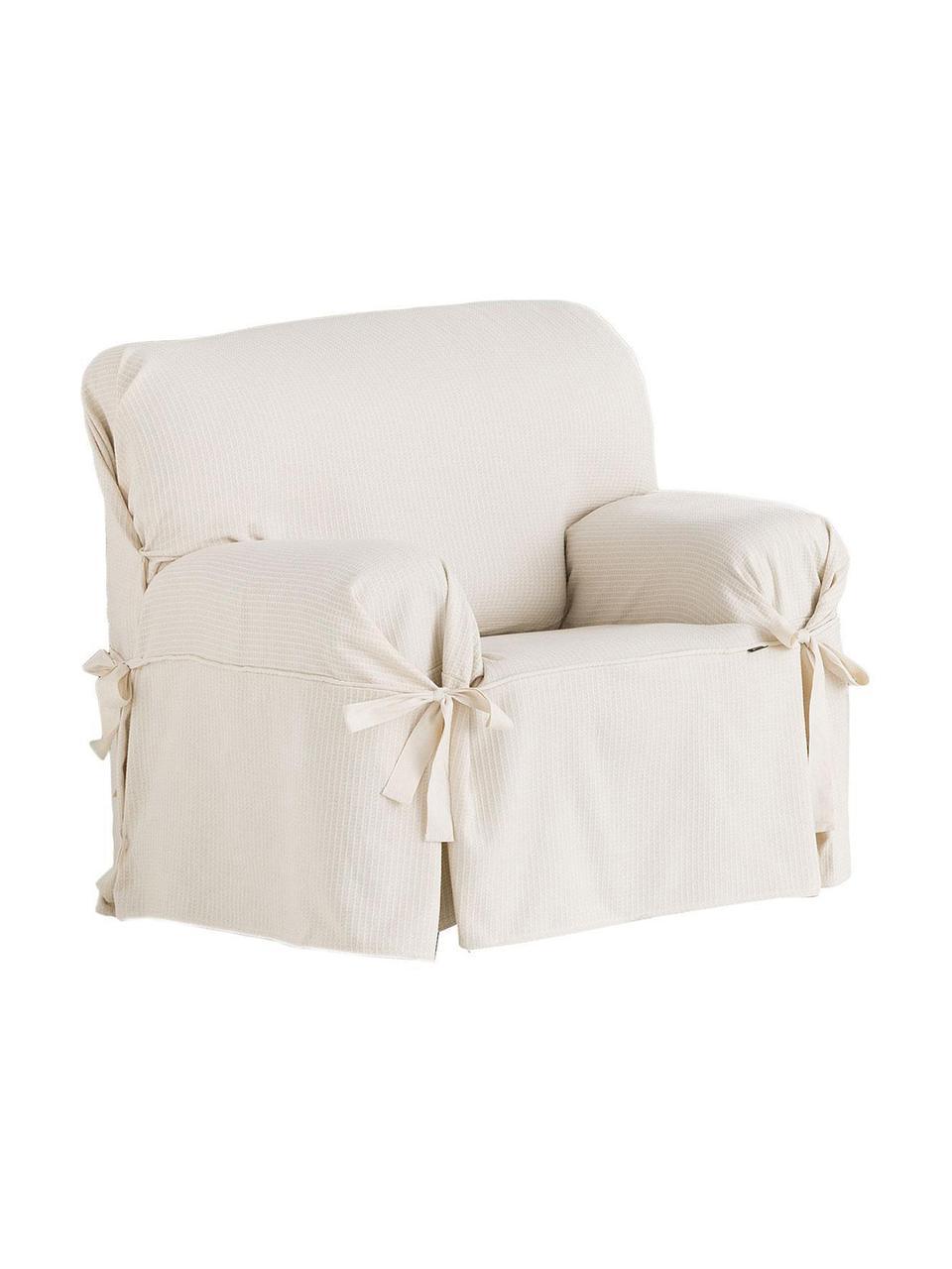 Pokrowiec na fotel Bianca, 100% bawełna, Odcienie kremowego, S 110 x W 110 cm