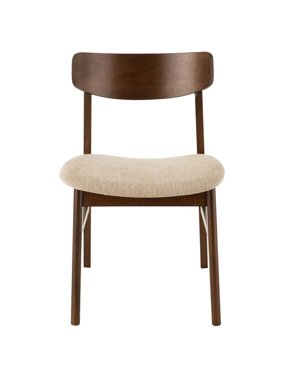 Holzstuhl Ken aus dunklem Holz, Bezug: Polyester, Gestell: Gummibaumholz, Braun, Beige, B 57 x T 53 cm
