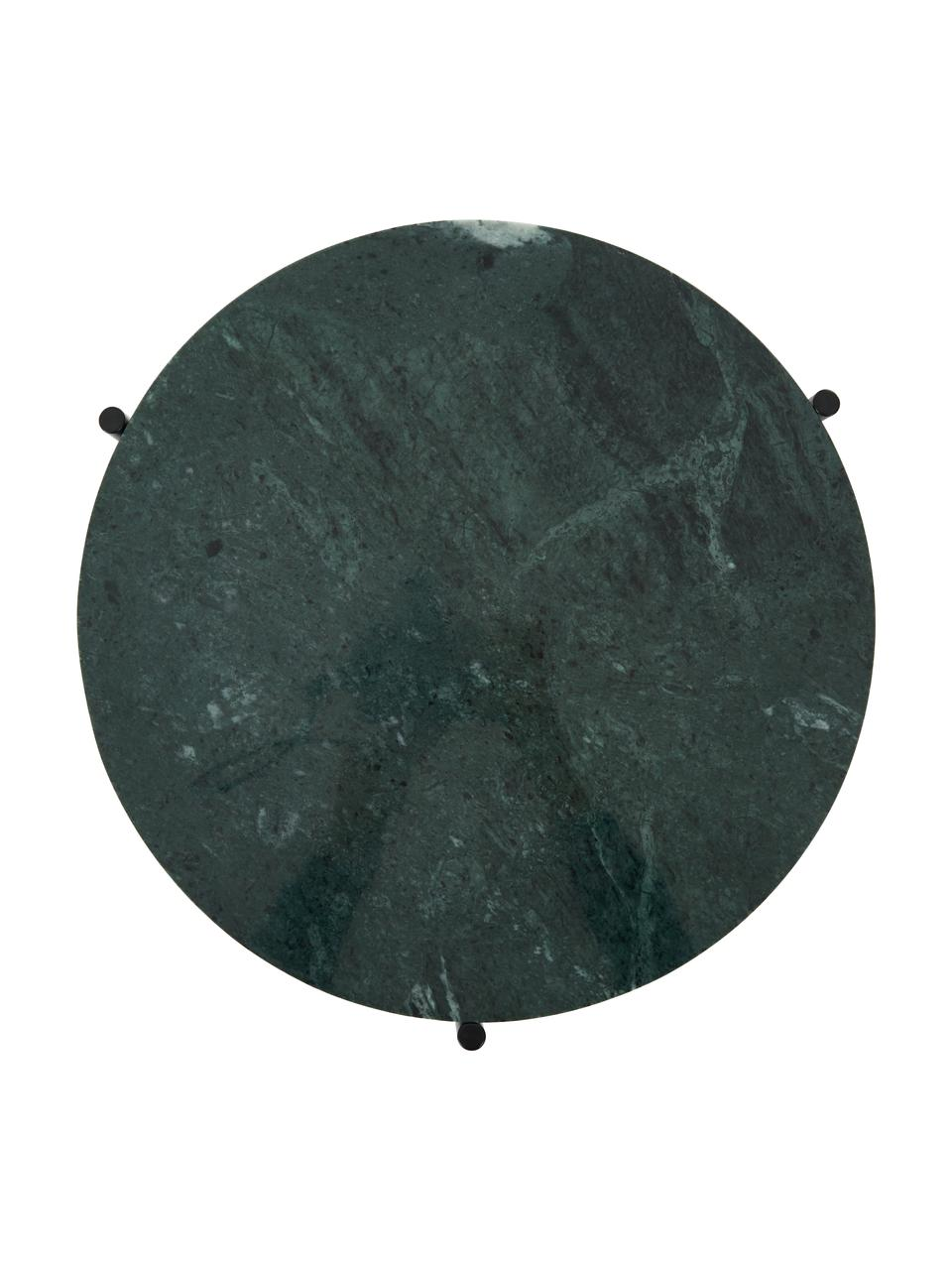 Table d'appoint ronde en marbre Ella, Plateau: marbre vert Support: noir, mat