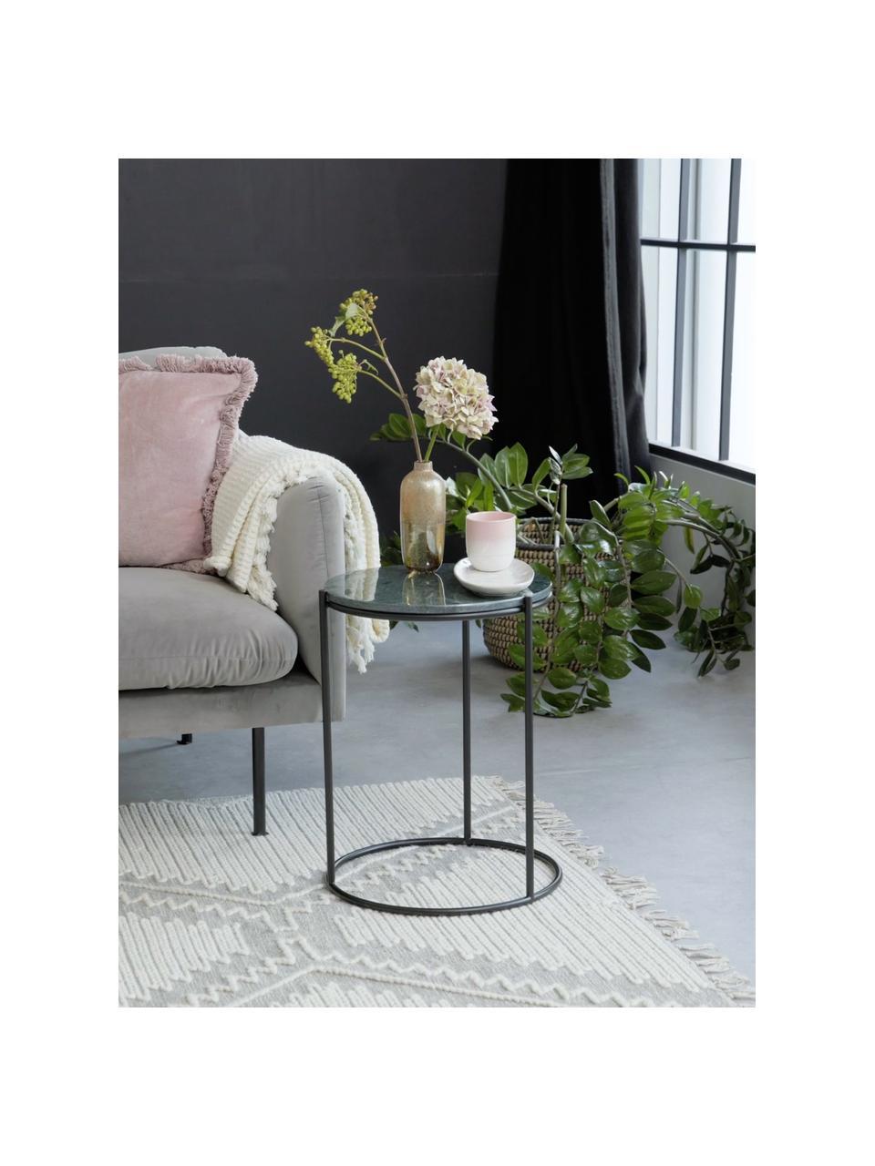 Runder Marmor-Beistelltisch Ella, Tischplatte: Marmor, Gestell: Metall, pulverbeschichtet, Grüner Marmor, Schwarz, Ø 40 x H 50 cm