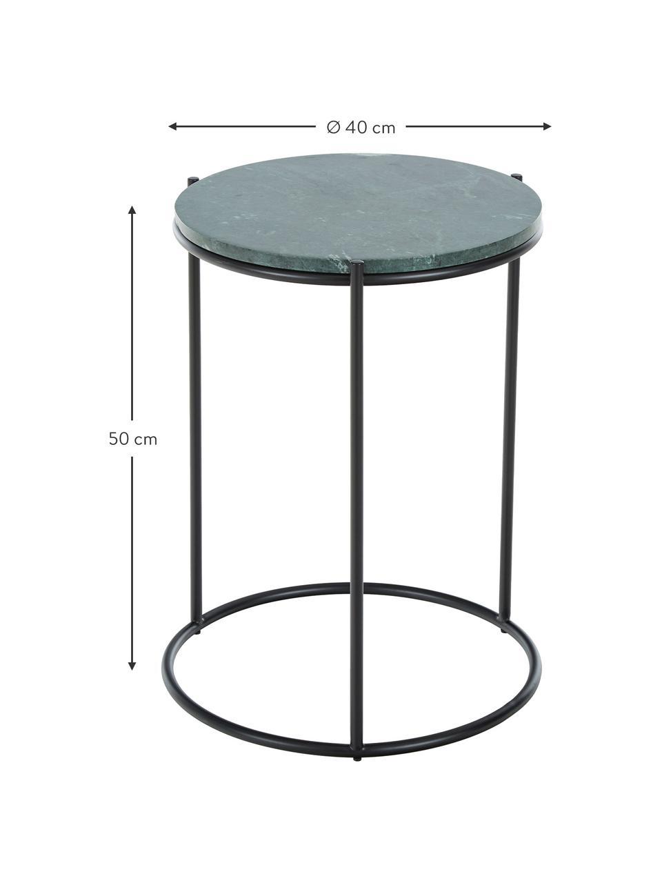 Okrągły stolik pomocniczy z marmuru Ella, Blat: marmur, Stelaż: metal malowany proszkowo, Blat: zielony marmur Stelaż: czarny, matowy, Ø 40 x W 50 cm