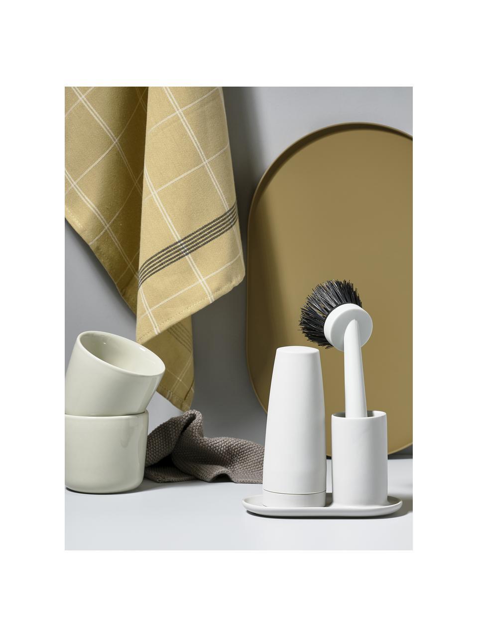 Spülmittelspender Plain mit Spülbürste, 3er-Set, Keramik, Silikon, Kunststoff (ABS), Hellgrau, 15 x 22 cm