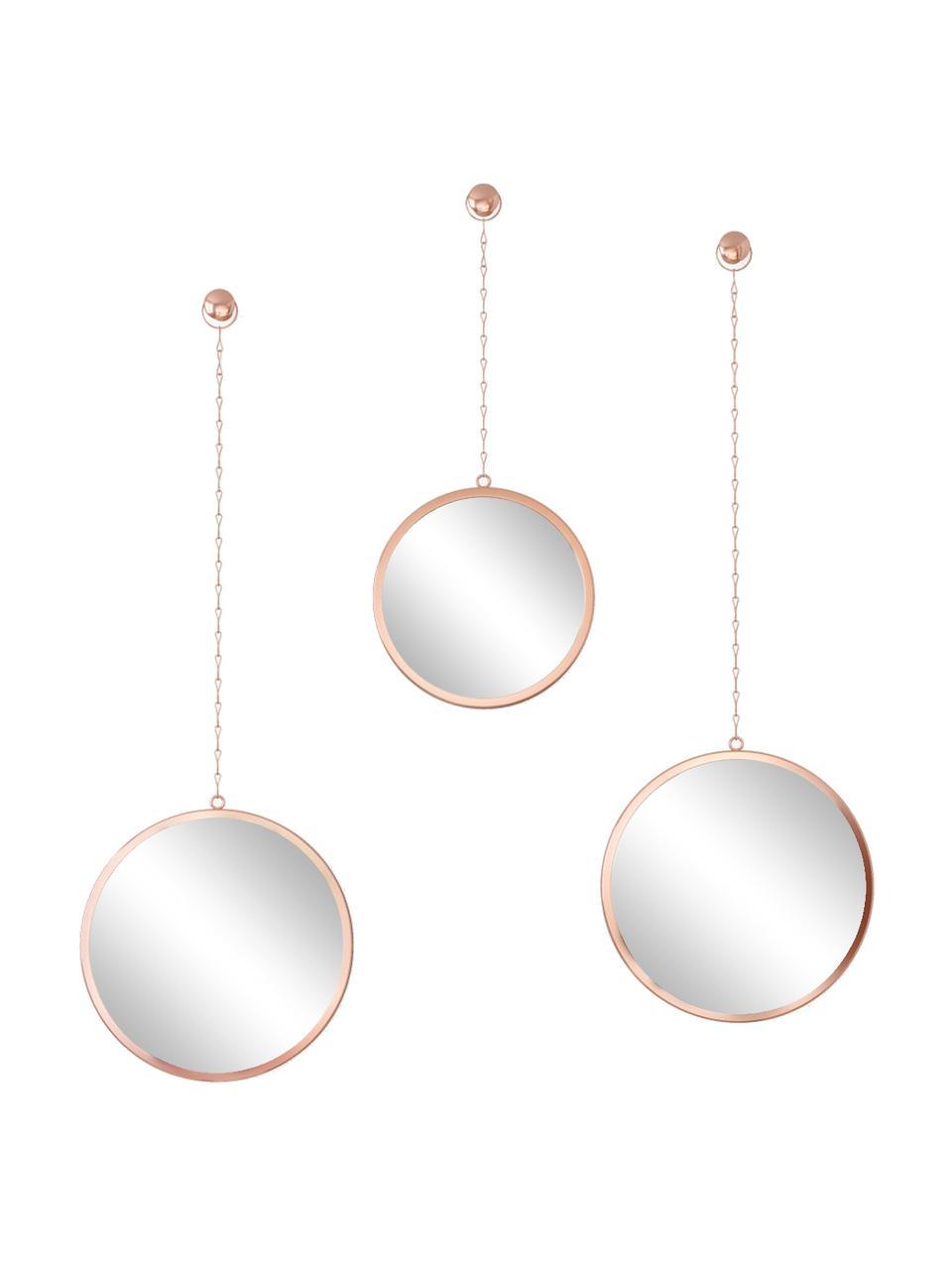 Rundes Wandspiegel-Set Dima mit kupferfarbenen Metallrahmen, 3-tlg., Rahmen: Metall, beschichtet, Spiegelfläche: Spiegelglas, Kupferfarben, Set mit verschiedenen Größen