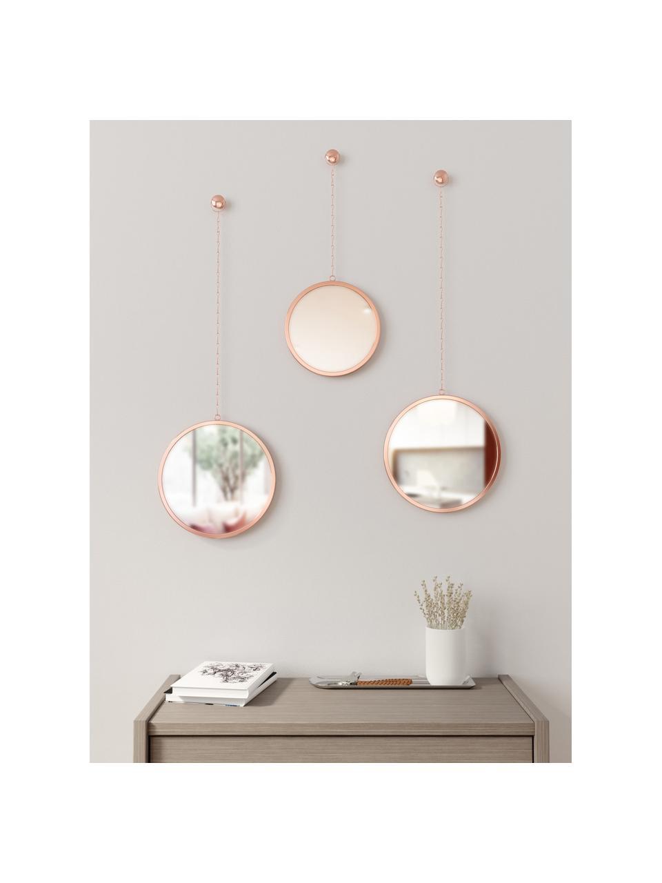 Set 3 specchi da parete Dima, Cornice: metallo rivestito, Superficie dello specchio: lastra di vetro, Ramato, Set in varie misure