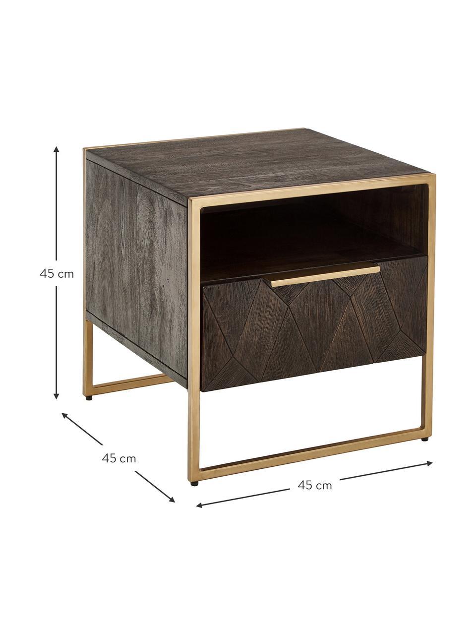 Table de chevet en bois massif Harry, Bois de manguier, couleur dorée