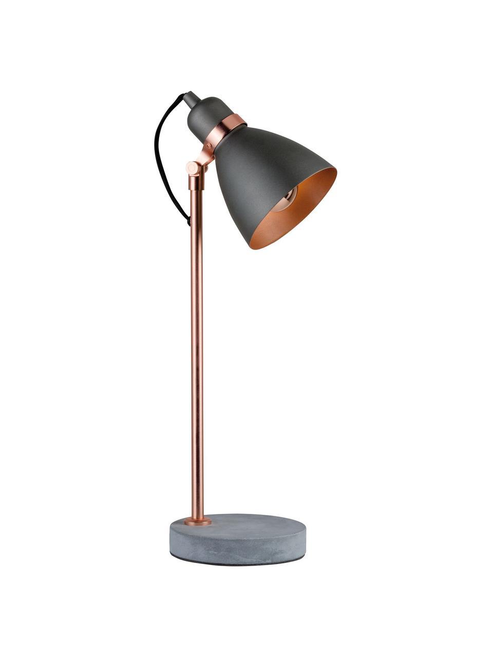 Lampada da tavolo con base in cemento Orm, Paralume: metallo rivestito, Asta: metallo rivestito, Base della lampada: cemento, Rame, grigio, Ø 15 x Alt.50 cm