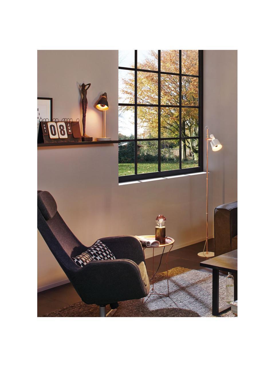 Große Schreibtischlampe Orm mit Betonfuß, Lampenschirm: Metall, beschichtet, Stange: Metall, beschichtet, Lampenfuß: Beton, Kupferfarben, Grau, Ø 15 x H 50 cm
