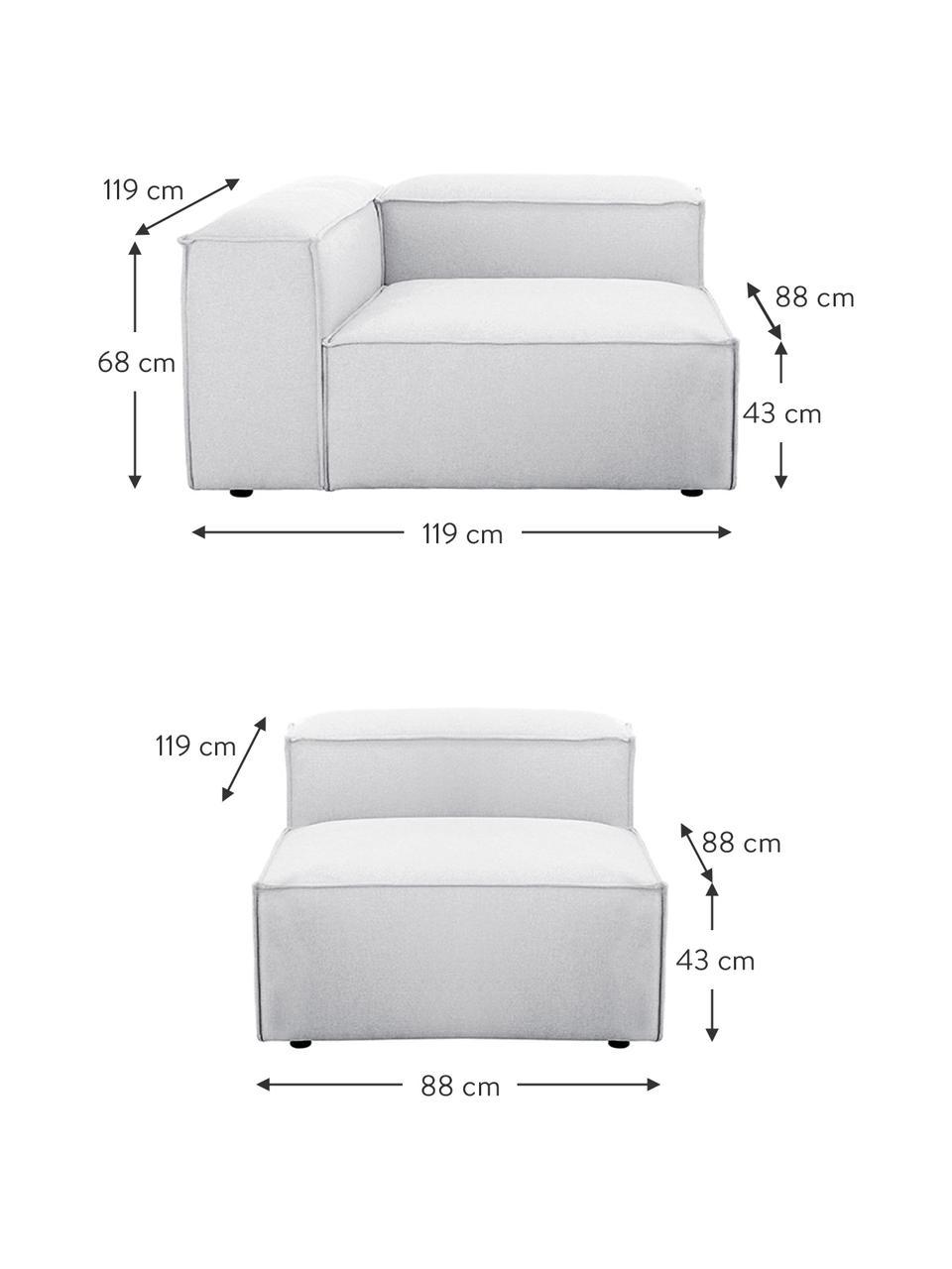 Modulares Sofa Lennon (4-Sitzer) in Hellgrau, Bezug: Polyester Der hochwertige, Gestell: Massives Kiefernholz, Spe, Füße: Kunststoff Die Füße befin, Webstoff Hellgrau, B 326 x T 119 cm