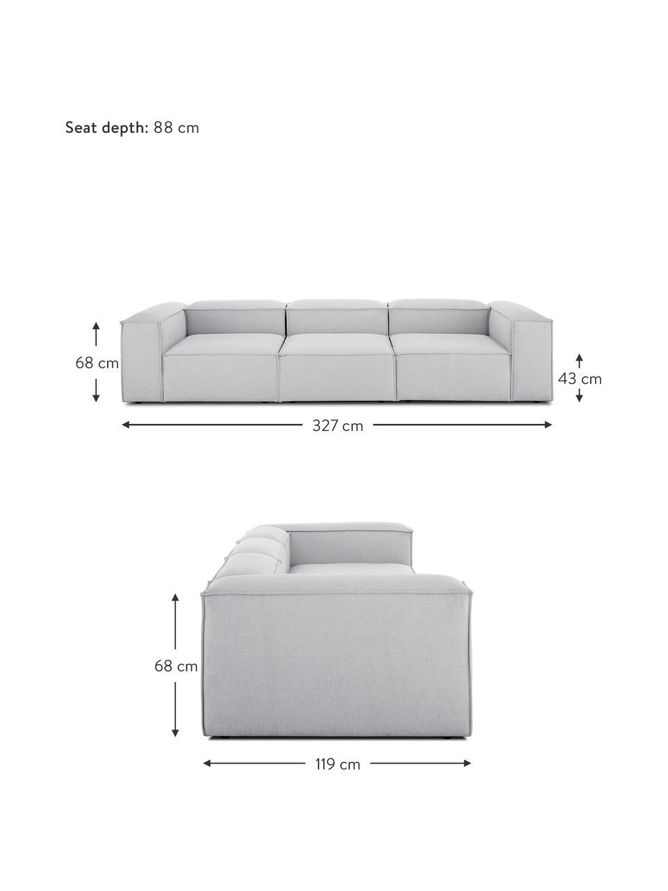 Modulares Sofa Lennon (4-Sitzer) in Hellgrau, Bezug: Polyester Der hochwertige, Gestell: Massives Kiefernholz, Spe, Füße: Kunststoff Die Füße befin, Webstoff Hellgrau, B 327 x T 119 cm