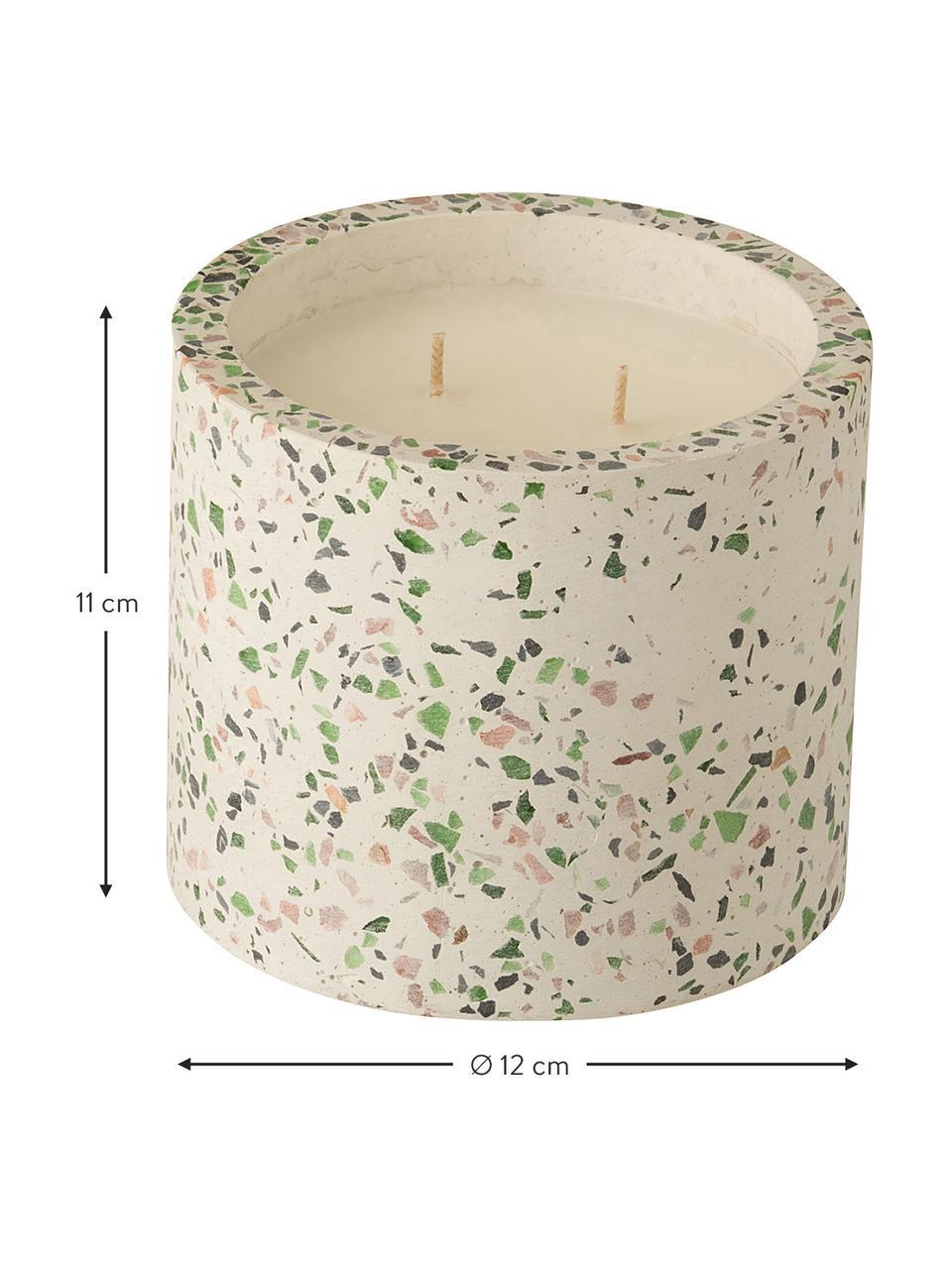 Candela profumata a due stoppini Terrazzo, Contenitore: gres, Crema, rosa, verde, Ø 12 x Alt. 11 cm