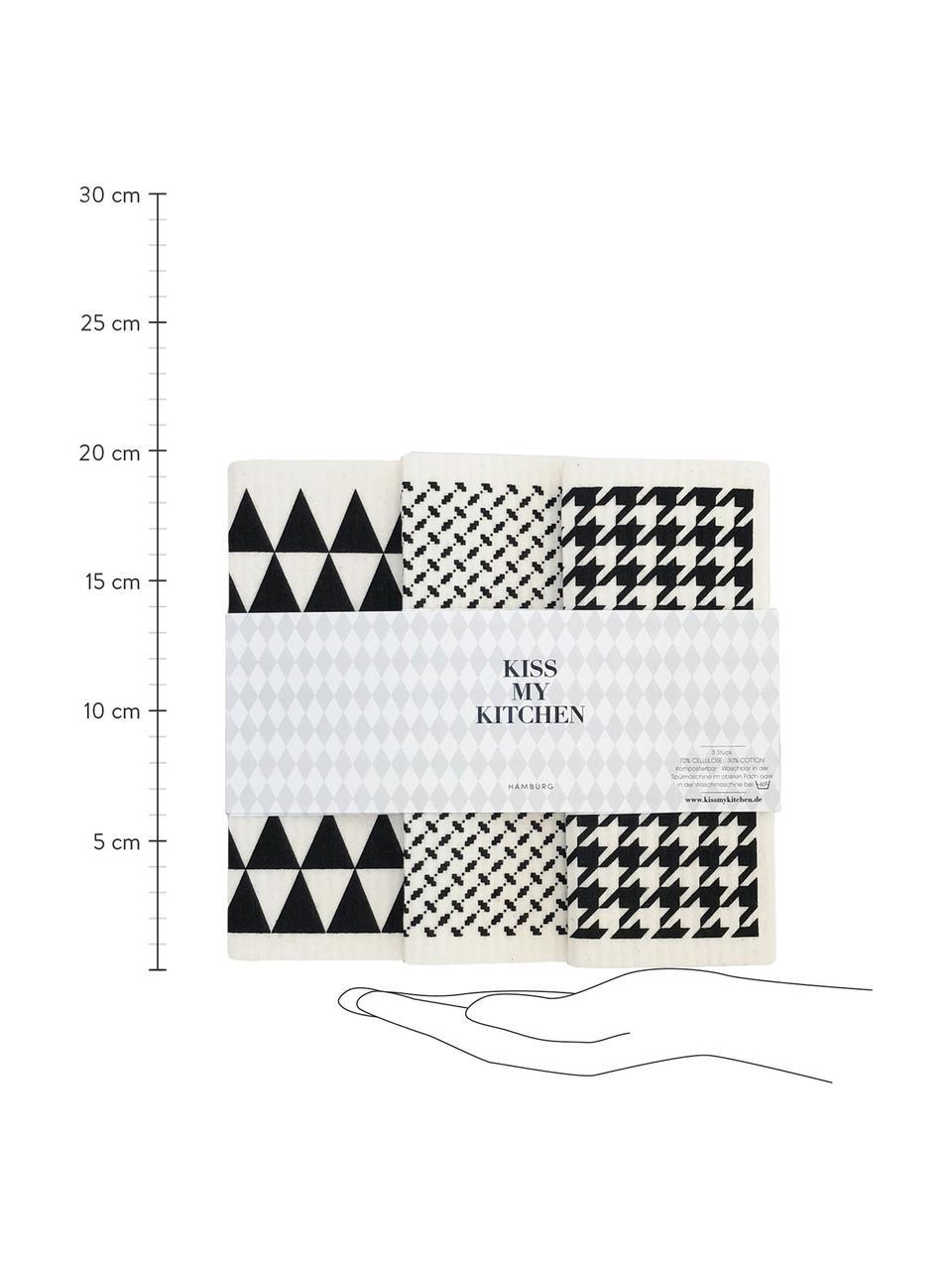 Kompostierbares Schwammtücher Tokio, 3er-Set, 70% Cellulose, 30% Baumwolle, Weiß, Schwarz, 17 x 20 cm