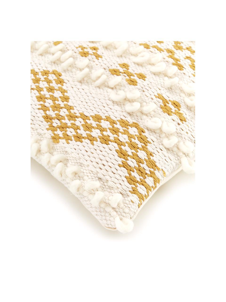 Boho kussenhoes Paco met decoratie, 80% katoen, 20% wol, Wit, geel, 45 x 45 cm