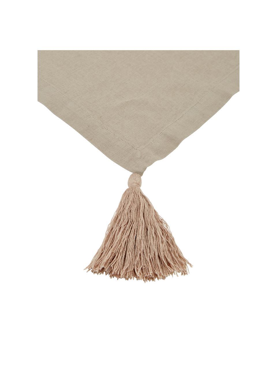 Obrus z chwostami Benini, 85% bawełna, 15% len, Greige, Dla 6-10 osób (S 130 x D 270 cm)
