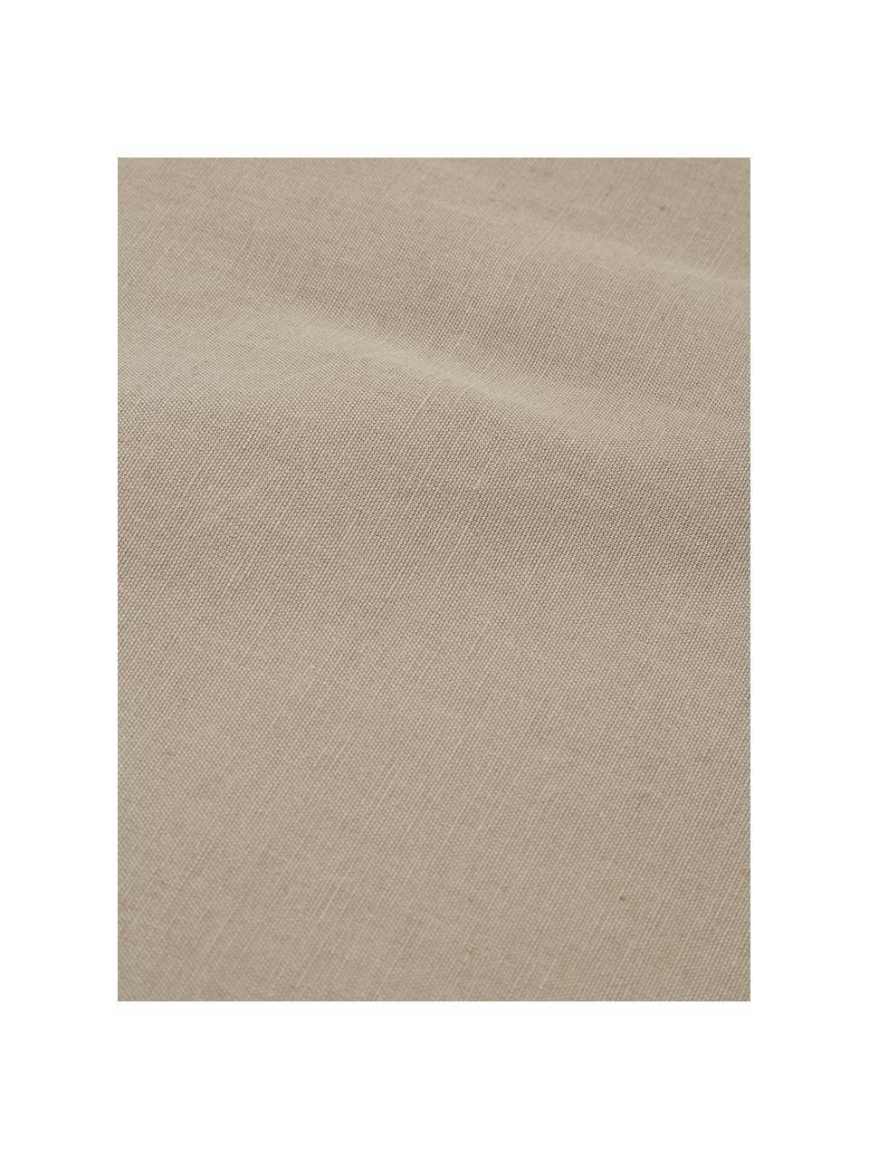 Tovaglia con nappe Benini, 85% cotone, 15% lino, Greige, Larg. 130 x Lung. 270 cm