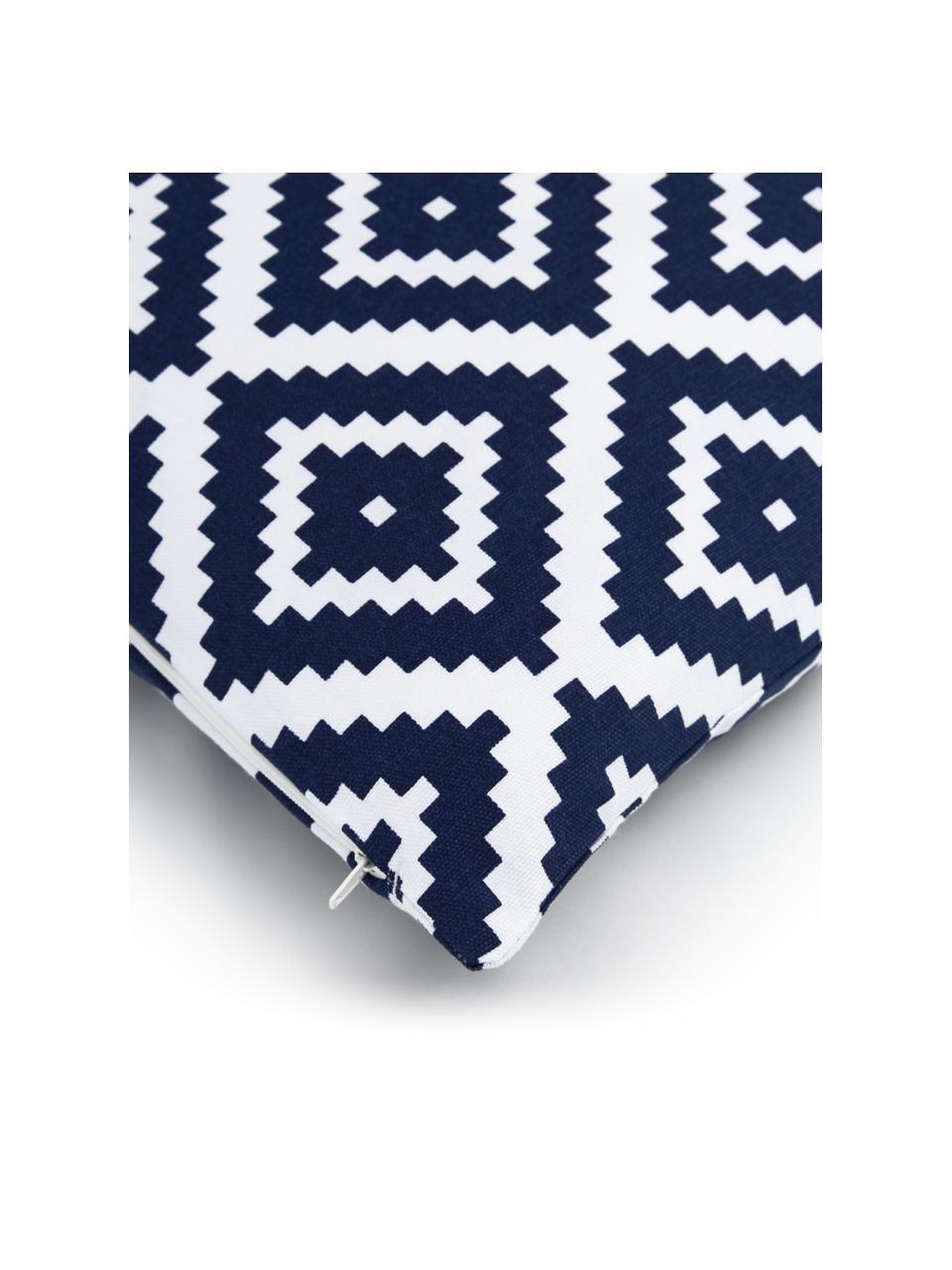 Kussenhoes Miami in donkerblauw/wit, 100% katoen, Blauw, 45 x 45 cm
