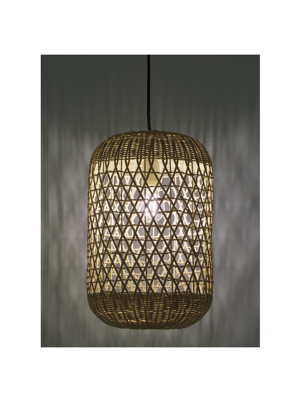 Kleine Pendelleuchte Aurora aus Bambus, Lampenschirm: Bambus, Baldachin: Kunststoff, Hellbraun, Ø 25 x H 40 cm