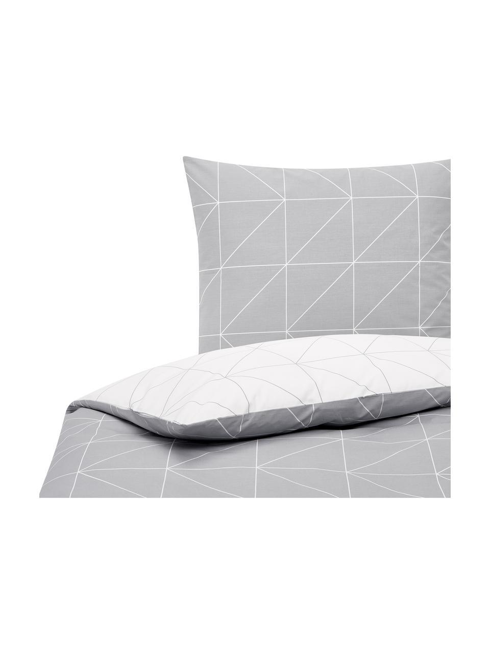 Baumwoll-Wendebettwäsche Marla mit grafischem Muster, Webart: Renforcé Fadendichte 144 , Grau, Weiß, 135 x 200 cm + 1 Kissen 80 x 80 cm