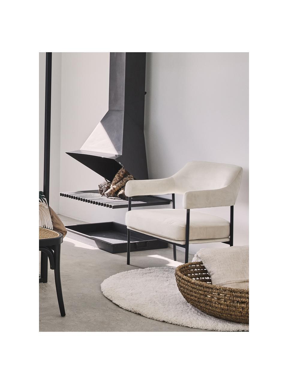 Samt-Loungesessel Zoe in Weiß, Bezug: Samt (Polyester) Der hoch, Gestell: Metall, pulverbeschichtet, Teddy Cremeweiß, B 67 x T 66 cm