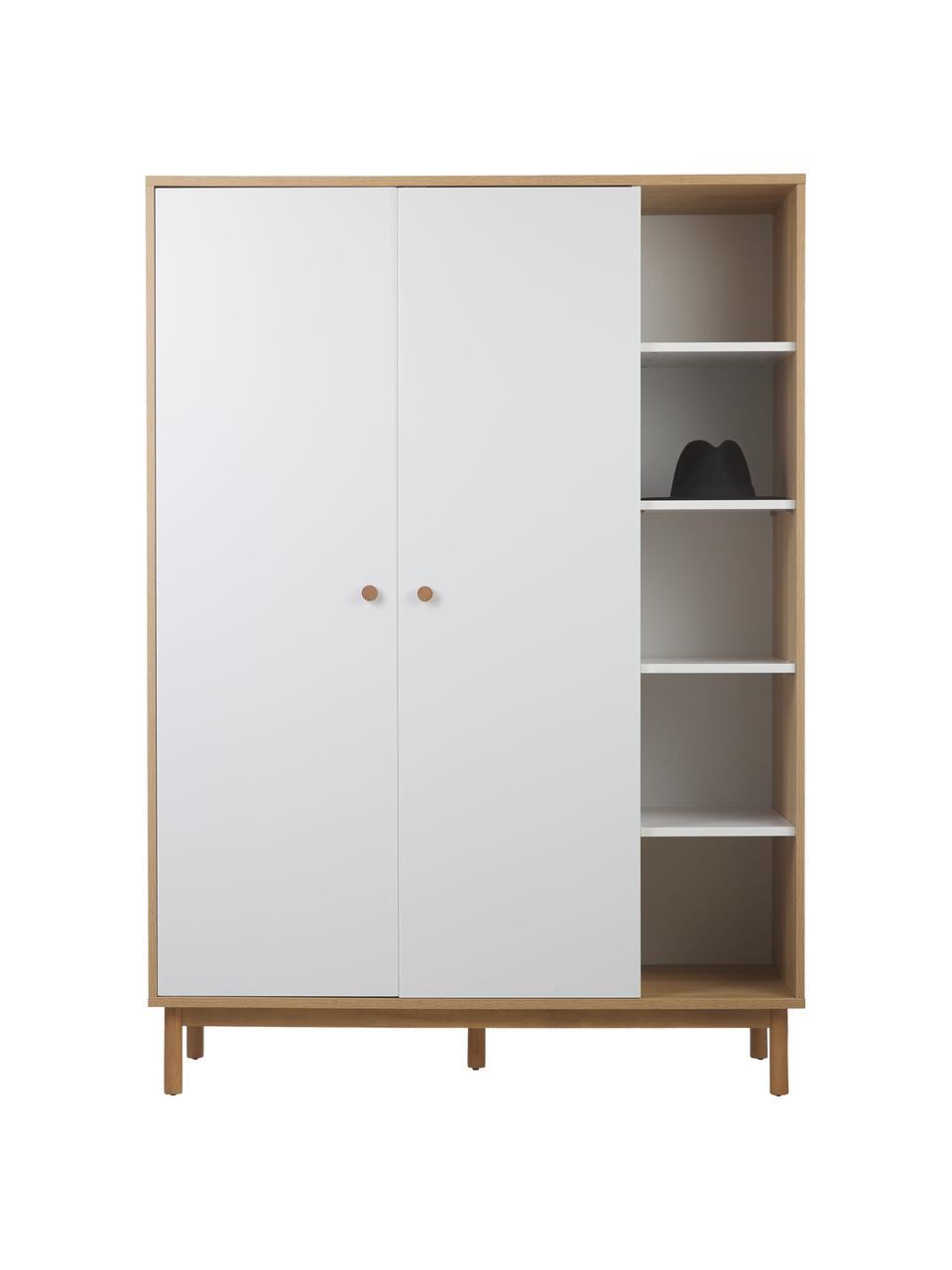 Kleiderschrank Nathan mit offenem Regal in Weiß, Korpus: Mitteldichte Holzfaserpla, Weiß, 133 x 186 cm