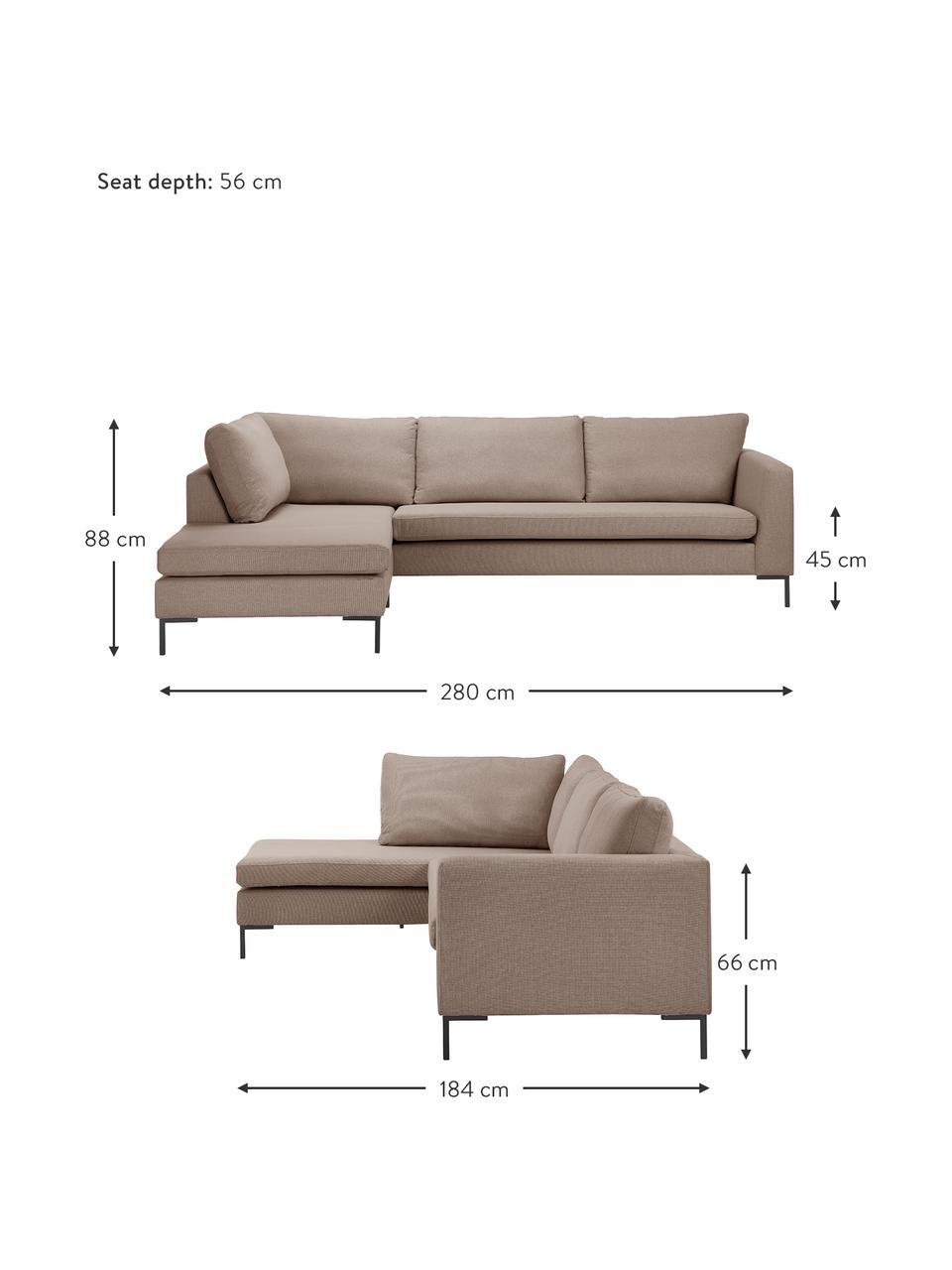 Sofa narożna z metalowymi nogami Luna, Tapicerka: 100% poliester Dzięki tka, Stelaż: lite drewno bukowe, Nogi: metal galwanizowany, Brązowy, S 280 x G 184 cm