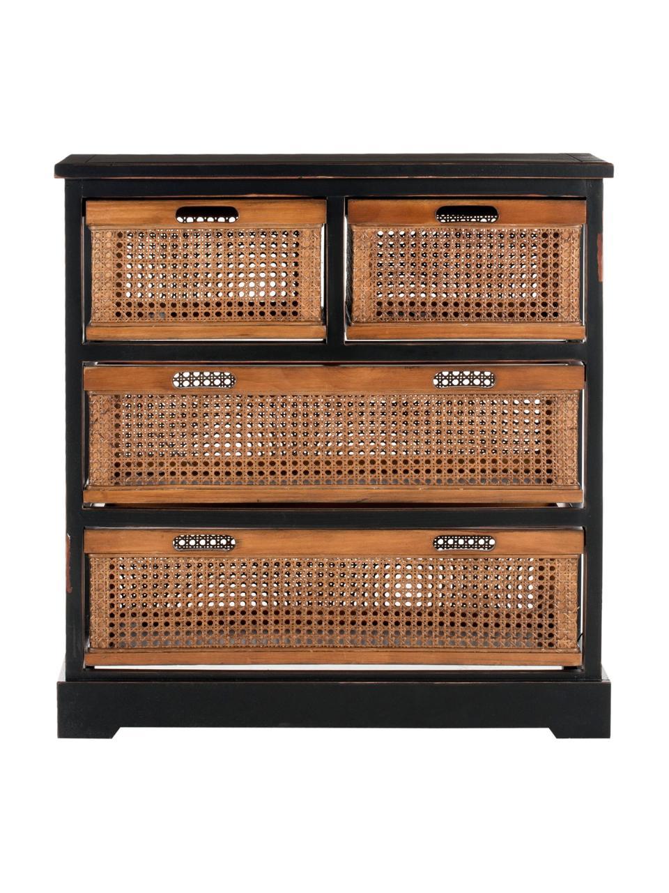 Komoda z rattanu Bantu, Korpus: drewno sosnowe, lakierowa, Drewno naturalne, czarny, S 74 x W 77 cm