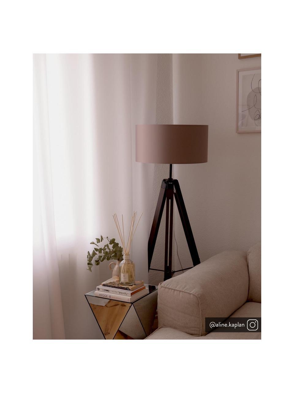 Tripod Stehlampe Josey aus Walnussholz, Lampenschirm: Textil, Lampenfuß: dunkles Walnussholz, Lampenfuß: Walnuss, Schwarz Lampenschirm: Taupe, Ø 70 x H 150 cm