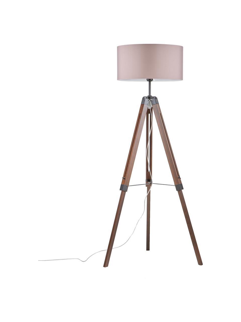 Lampa podłogowa z drewna z orzecha włoskiego Josey, Podstawa lampy: drewno orzecha włoskiego, czarny Klosz: taupe, Ø 70 x W 150 cm