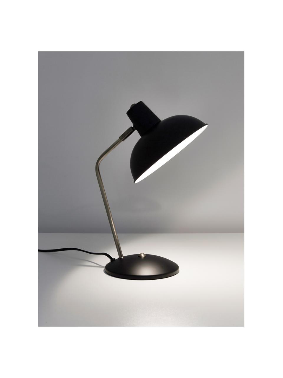 Retro-Schreibtischlampe Hood, Lampenschirm: Metall, lackiert, Lampenfuß: Metall, lackiert, Leuchte: Schwarz, Messingfarben Lampenschirm innen: Weiß, 20 x 38 cm