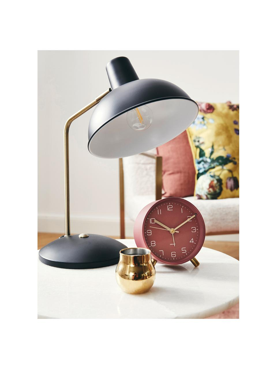Lampada da tavolo retrò Hood, Paralume: metallo verniciato, Base della lampada: metallo verniciato, Lampada: nero, ottonato Paralume interno: bianco, Larg. 20 x Alt. 38 cm