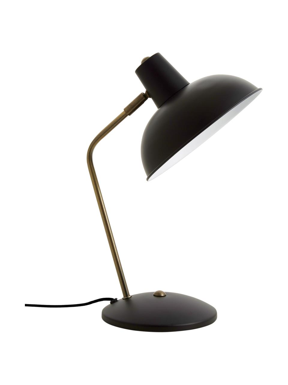 Lampa biurkowa w stylu retro Hood, Lampa: czarny, odcienie mosiądzu Klosz wewnątrz: biały, S 20 x W 38 cm