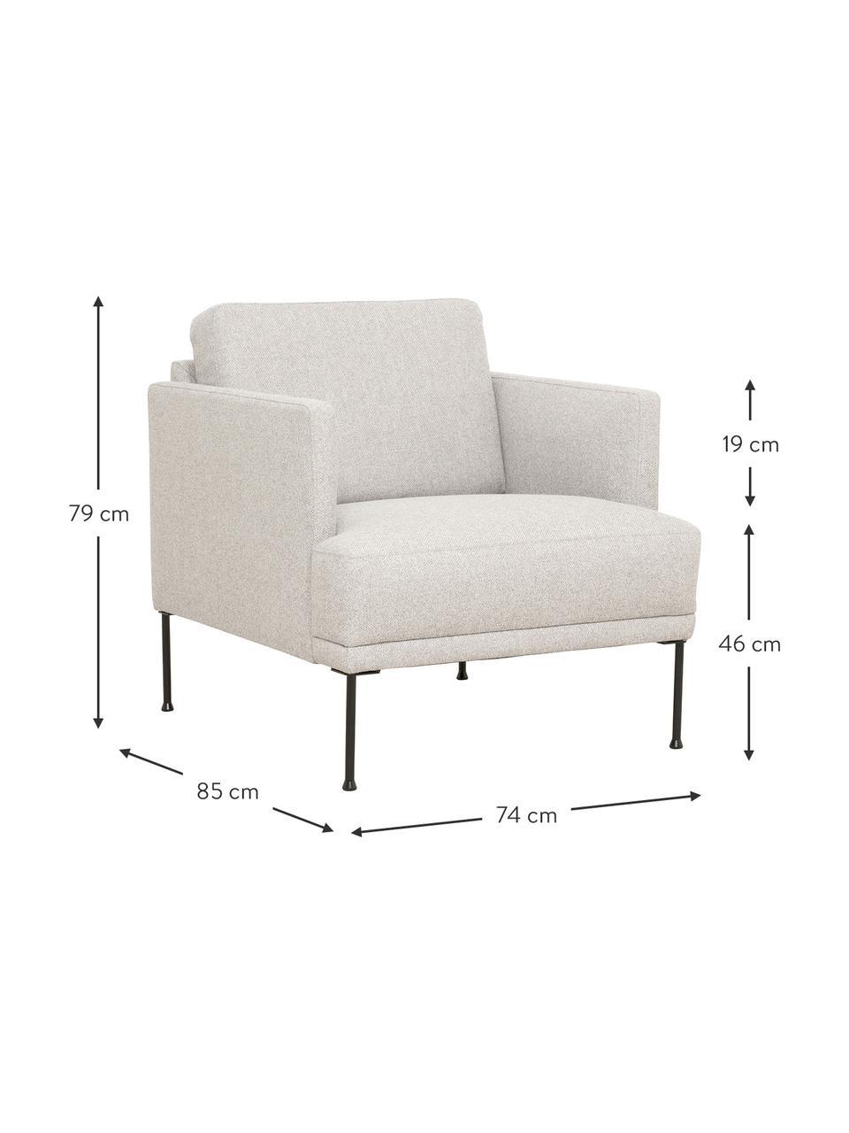 Sessel Fluente in Beige mit Metall-Füßen, Bezug: 80% Polyester, 20% Ramie , Gestell: Massives Kiefernholz, Füße: Metall, pulverbeschichtet, Webstoff Beige, B 74 x T 85 cm