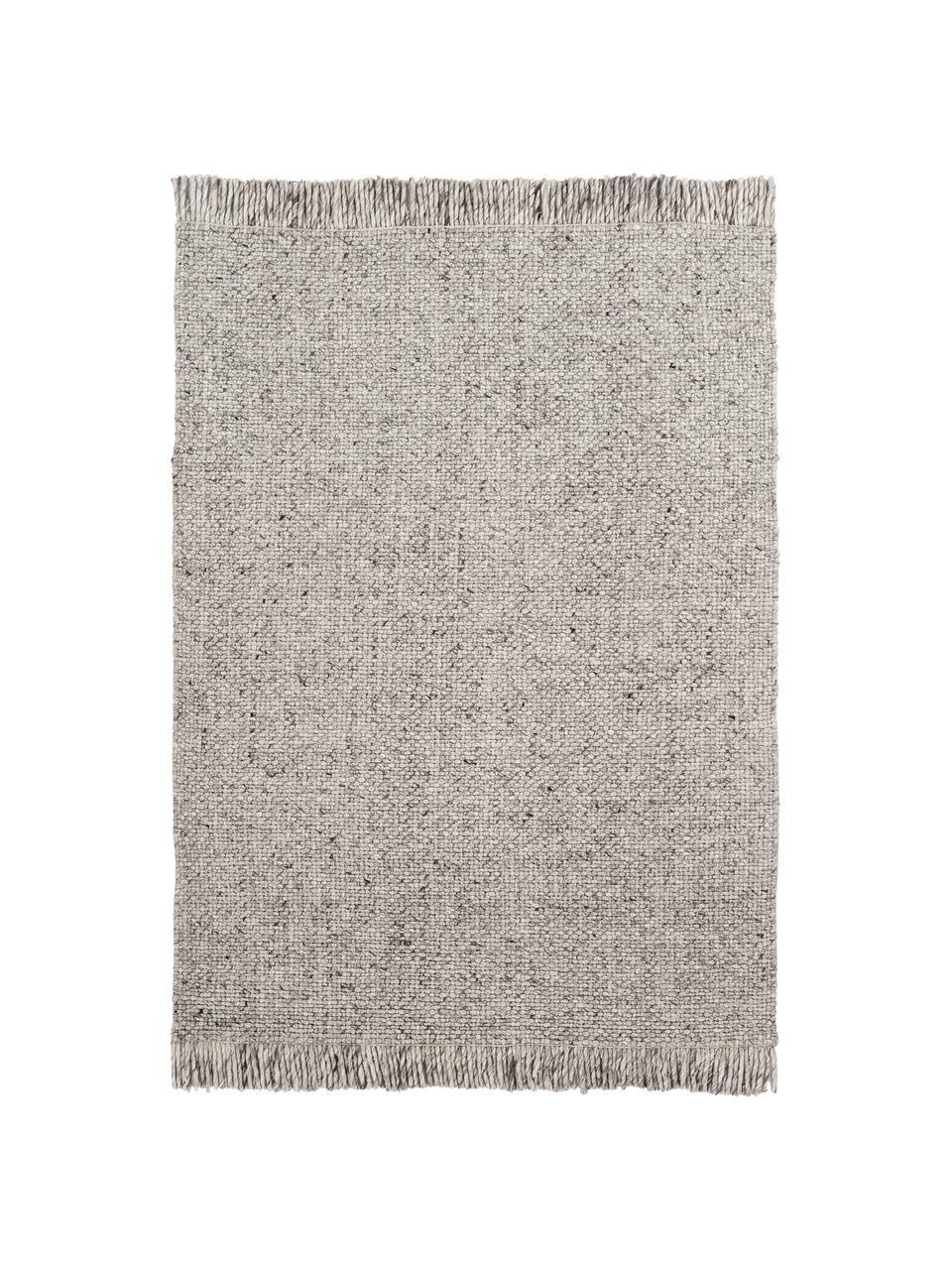 Tappeto in lana tessuto a mano grigio chiaro Eskil, Retro: 100% cotone Nel caso dei , Grigio maculato, Larg. 80 x Lung. 150 cm (taglia XS)
