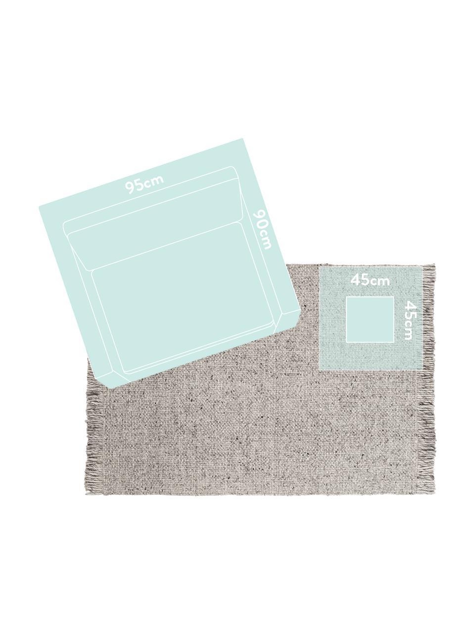 Handgeweven wollen vloerkleed Alvin in gevlekt lichtgrijs met franjes, Bovenzijde: 60% wol, 40% viscose, Onderzijde: katoen, Grijs, gevlekt, B 80 x L 150 cm (maat XS)