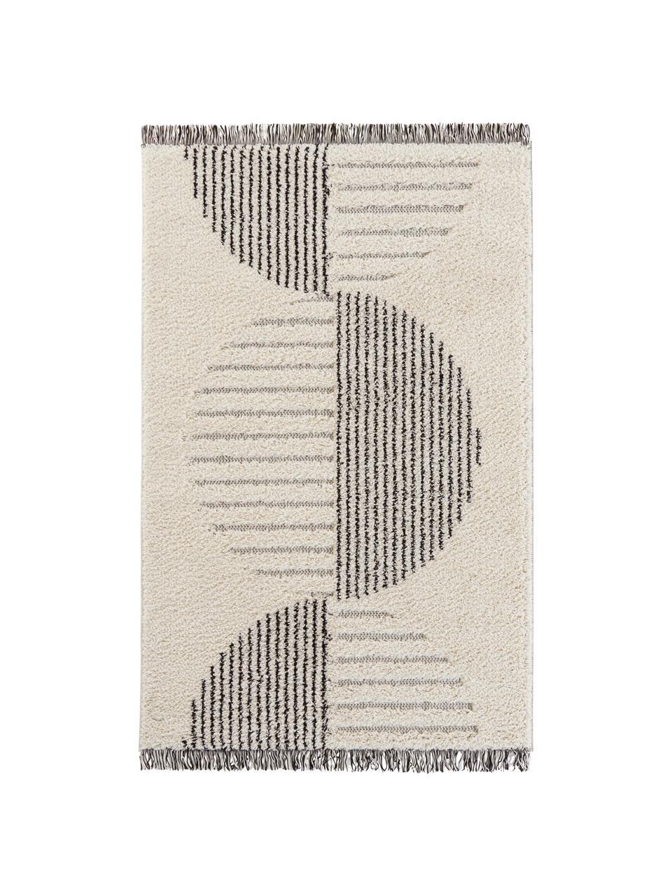 Hochflorteppich Handira in Creme/Schwarz mit abstraktem Muster und Fransen, 93% Polypropylen, 7% Polyester, Beige, Schwarz, B 80 x L 150 cm (Größe XS)