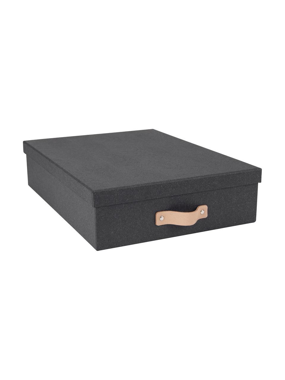 Boîte de rangement Oskar II, Extérieur boîte: noir. Intérieur boîte: noir. Poignée: beige