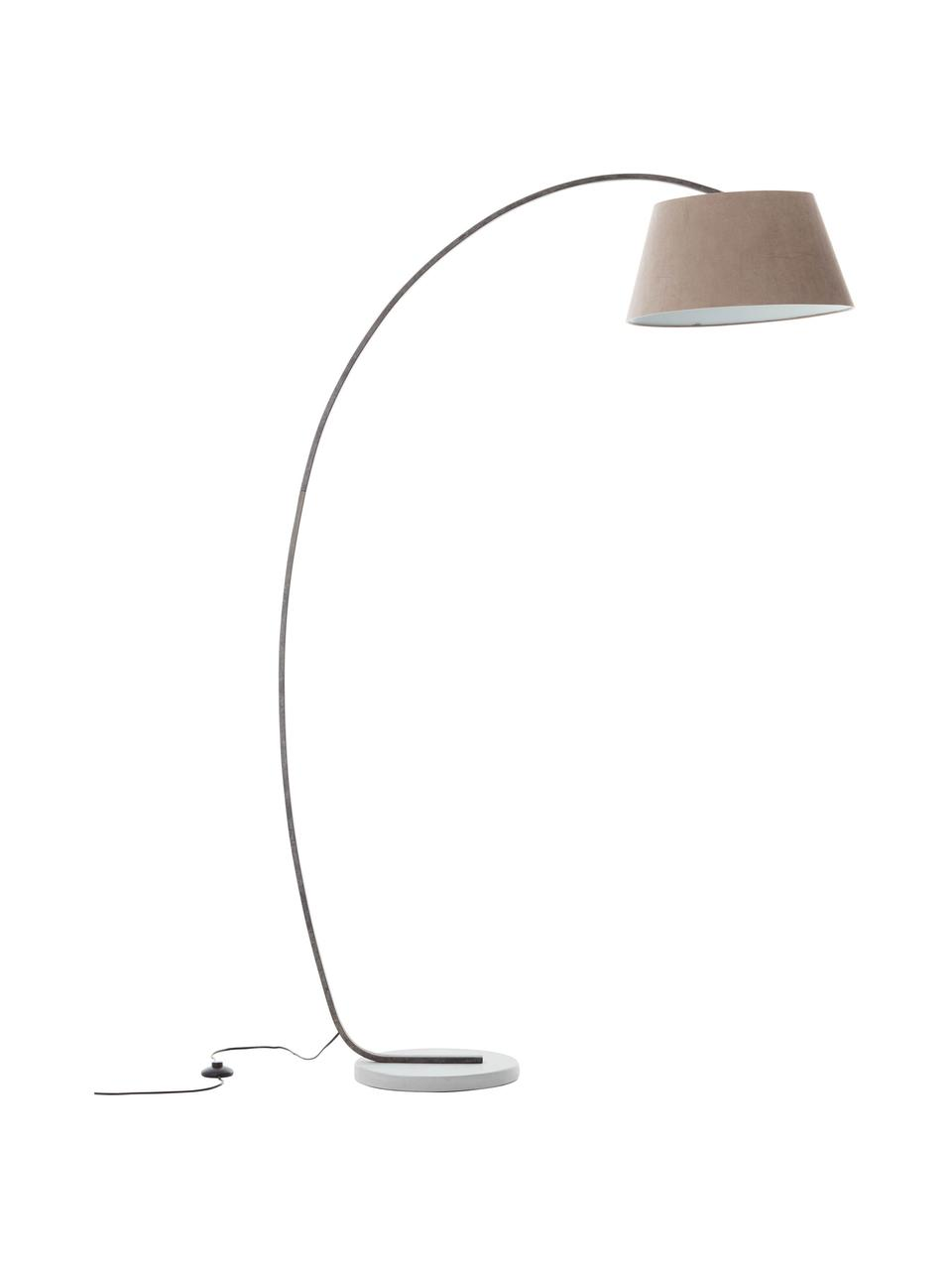 Lampada ad arco di design con finitura anticata Brok, Paralume: tessuto, Base della lampada: metallo, Grigio, Larg. 121 x Alt. 196 cm