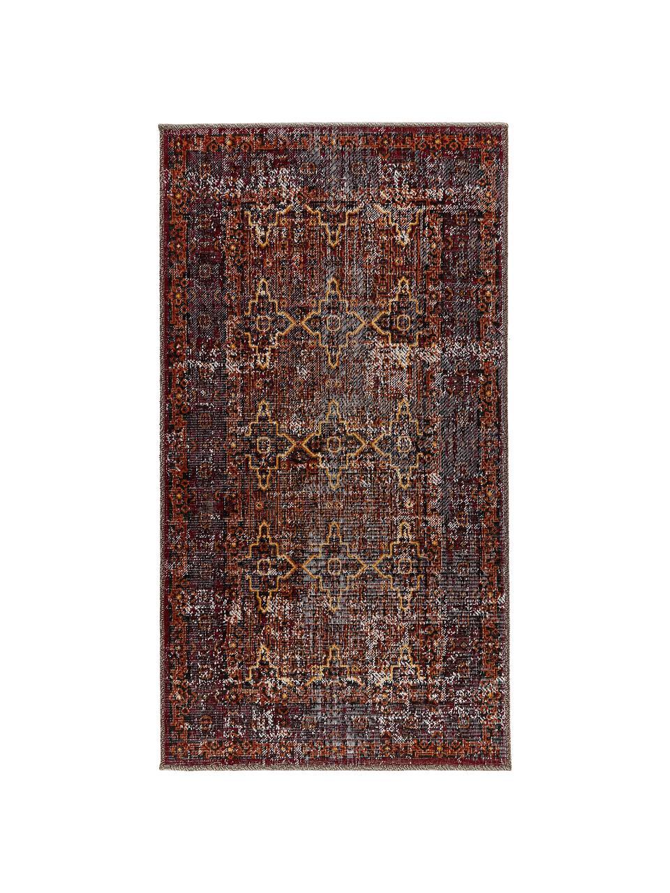 Vnitřní a venkovní koberec v orientálním styul Tilas Izmir, Švestková, hořčičná žlutá, khaki