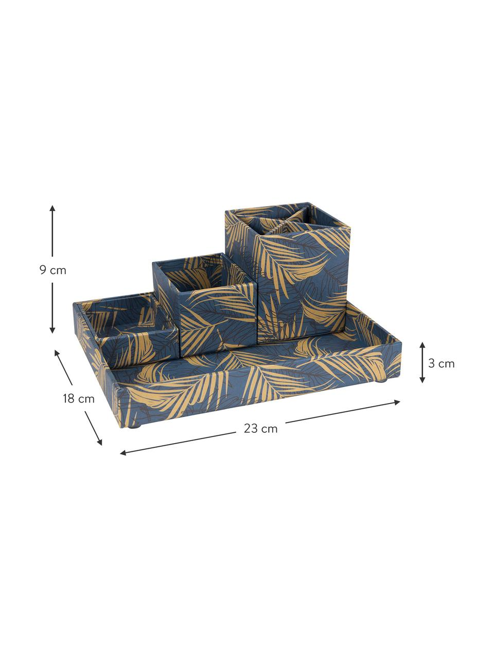 Set organizer da ufficio Lena 4 pz, Solido, cartone laminato, Dorato, blu grigio, Set in varie misure
