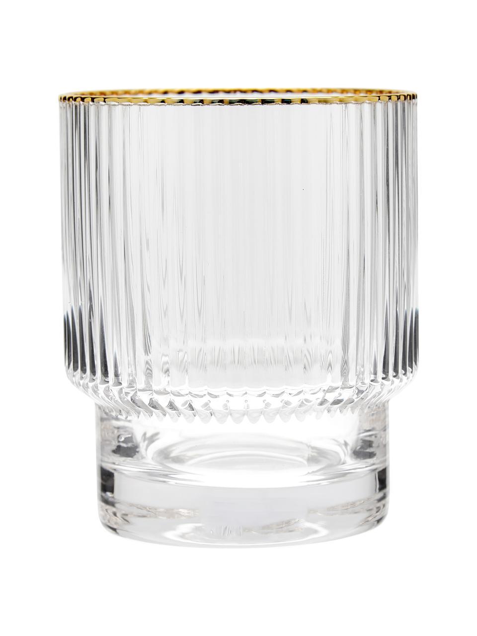 Handgefertigte Wassergläser Minna mit Rillenrelief und Goldrand, 4 Stück, Glas, mundgeblasen, Transparent, Ø 8 x H 10 cm
