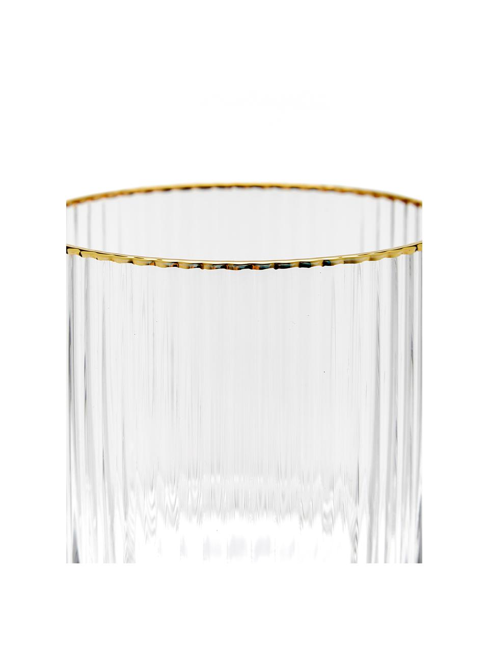 Wassergläser Minna mit Rillenrelief und Goldrand, 4 Stück, Glas, Transparent, Goldfarben, Ø 8 x H 10 cm