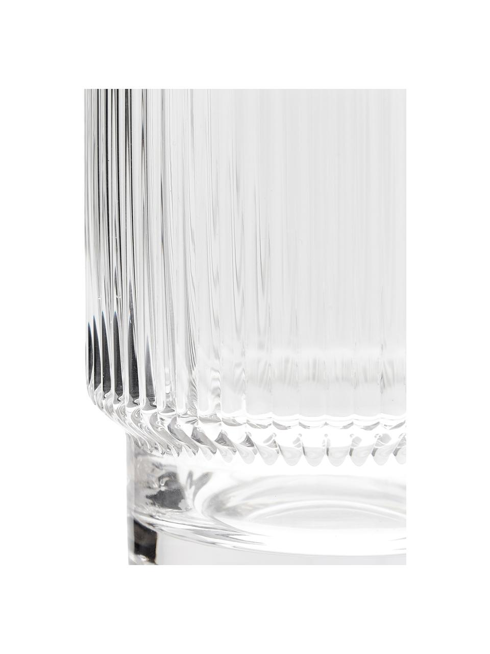 Handgemaakte waterglazen Minna met groefreliëf, 4 stuks, Mondgeblazen glas, Transparant, Ø 8 x H 10 cm