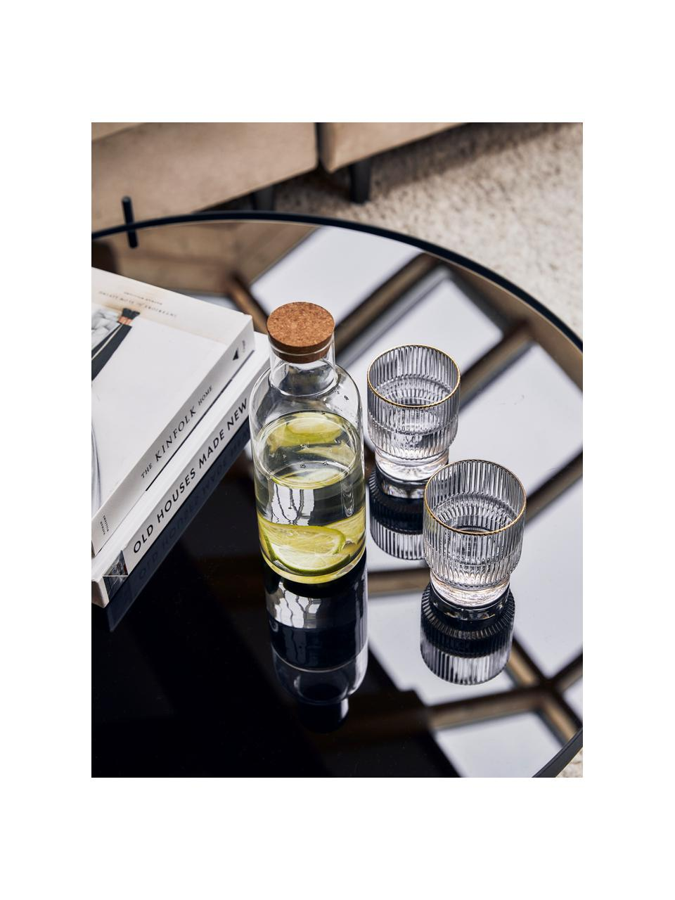 Bicchiere acqua fatto a mano con rilievo scanalato e bordo dorato Minna 4 pz, Vetro soffiato, Trasparente, Ø 8 x Alt. 10 cm