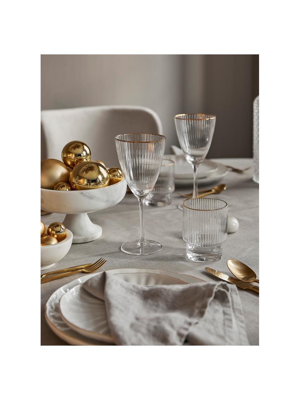 Verre à eau artisanal à rebord doré Minna, 4pièces, Transparent