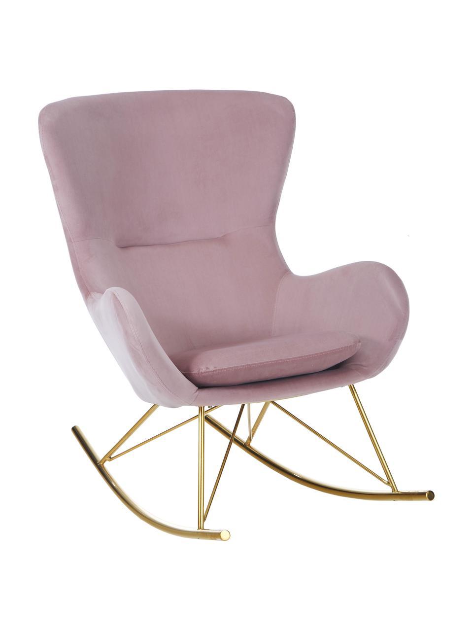 Sedia a dondolo in velluto rosa Wing, Rivestimento: velluto (poliestere) Con , Struttura: metallo zincato, Velluto rosa, dorato, Larg. 66 x Prof. 102 cm