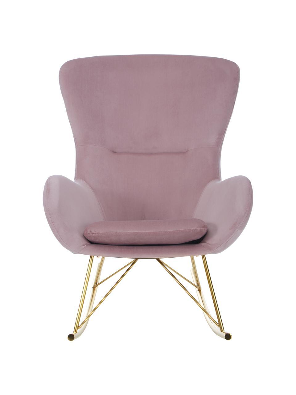 Mecedorade terciopelo Wing, Tapizado: terciopelo (poliéster) Al, Estructura: metal galvanizado, Terciopelo rosa, An 66 x F 102 cm