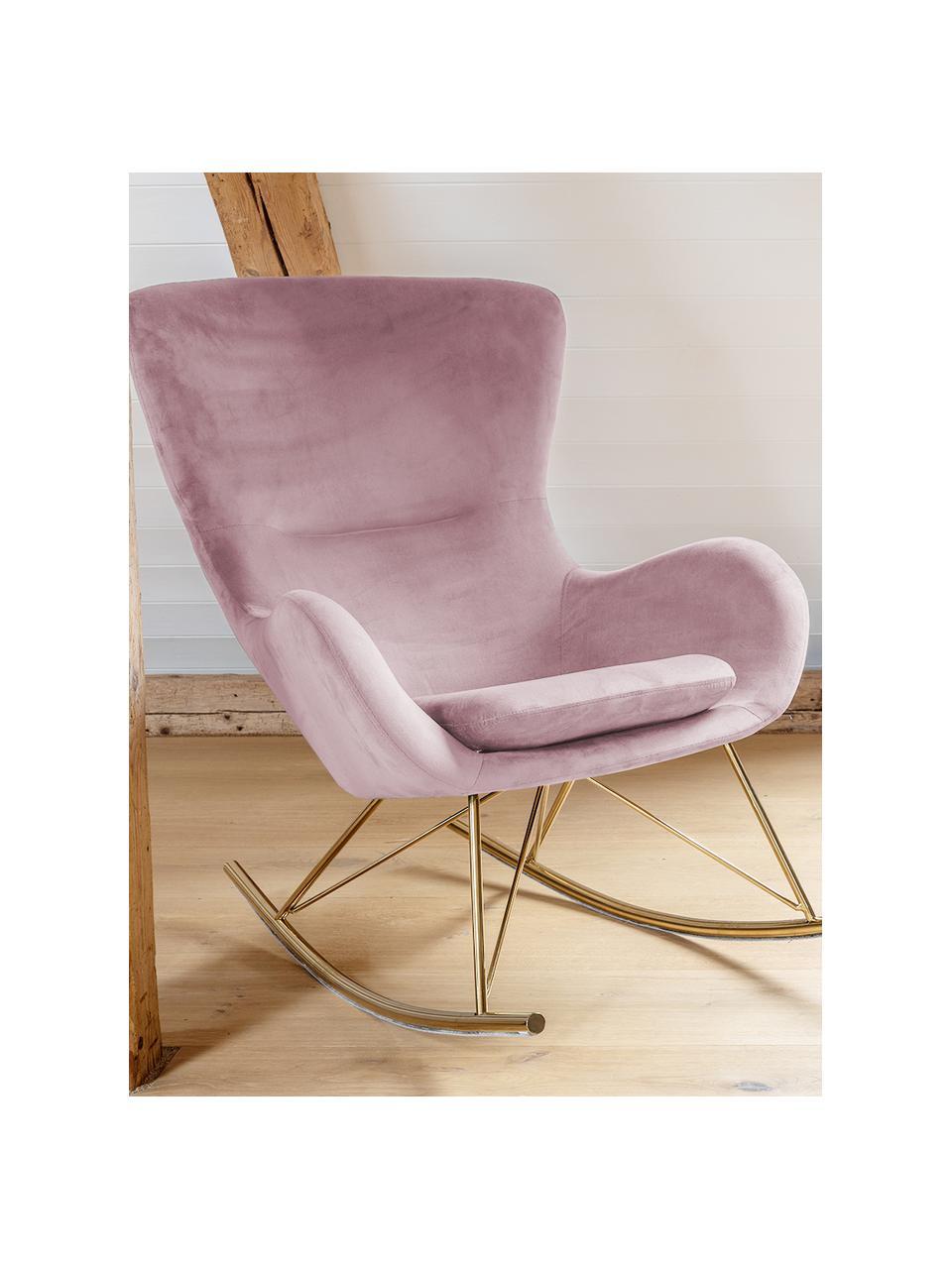 Fotel bujany uszak z aksamitu Wing, Tapicerka: aksamit (poliester) Dzięk, Aksamitny blady różowy, S 66 x G 102 cm